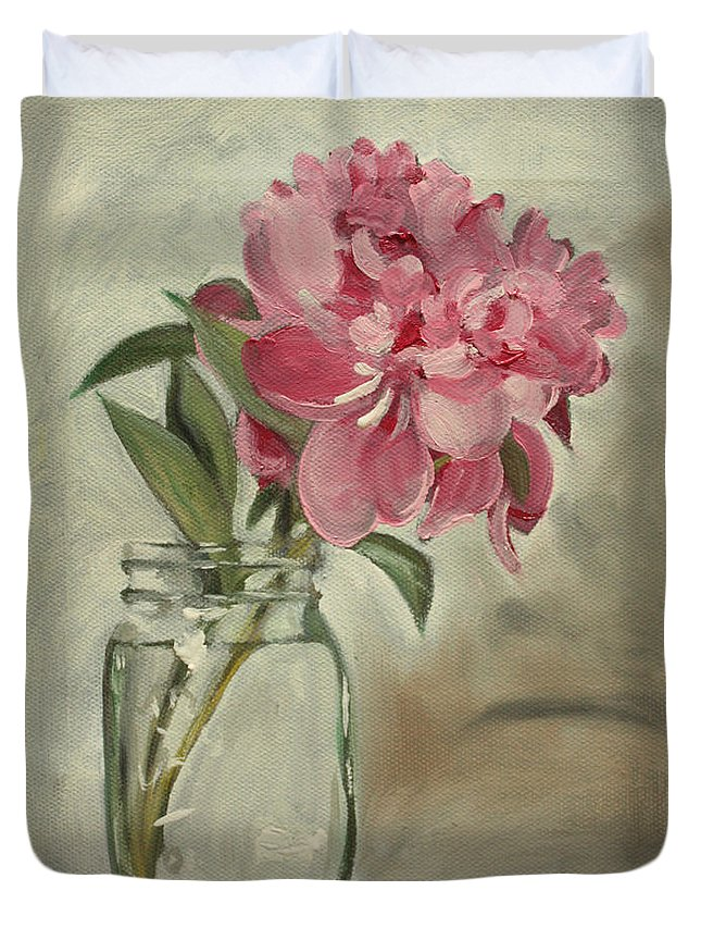 Still-life Duvet Cover featuring the painting Peony by Sarah Lynch