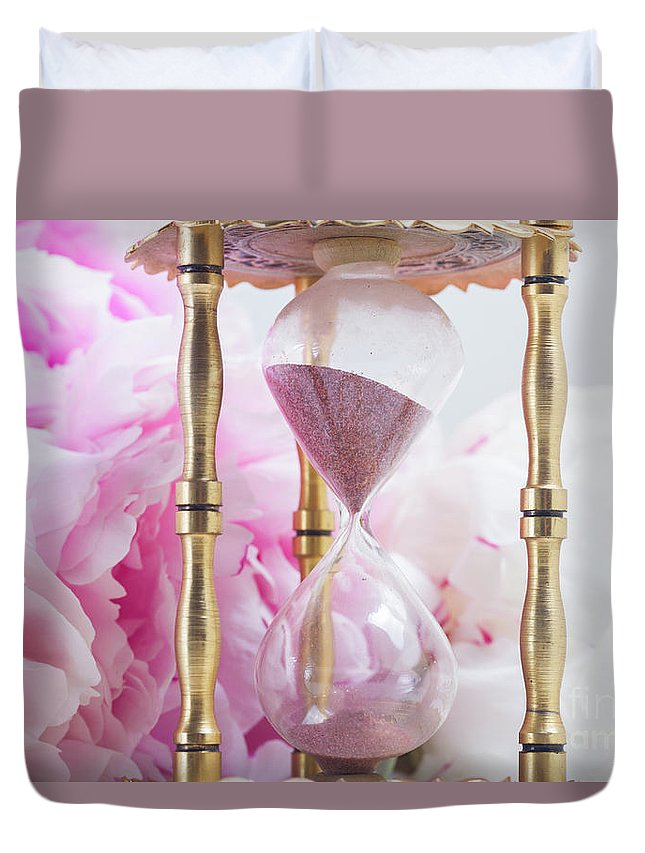 Pink Duvet Cover featuring the photograph Peony Time by Anastasy Yarmolovich