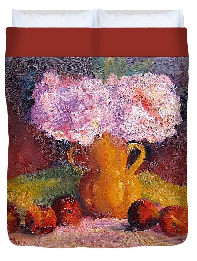 Peonys Duvet Cover featuring the painting Peonys And Peaches by Maureen Obey
