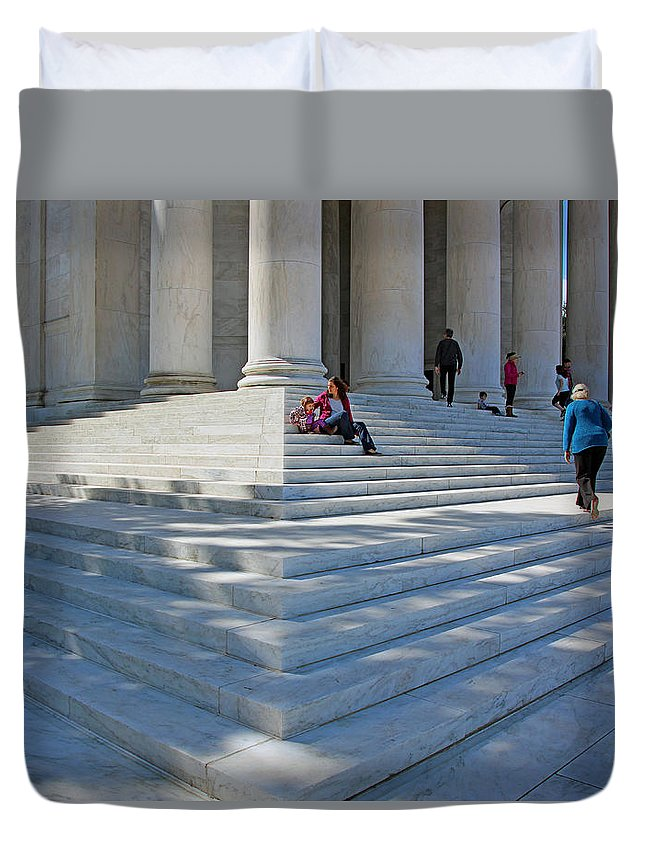 Jefferson Duvet Cover featuring the photograph People On Steps With Columns by Cora Wandel