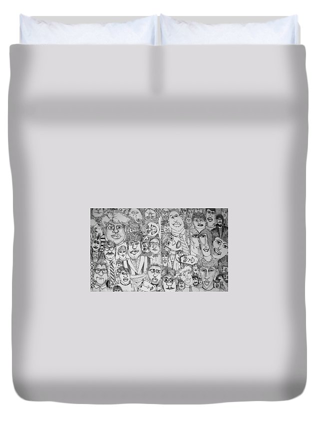 Faces Duvet Cover featuring the drawing People People People by Michelle Calkins