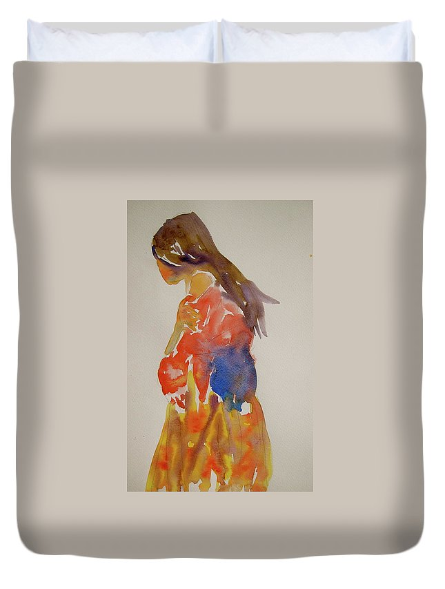 Figure Duvet Cover featuring the painting People Turned Away by Beverley Harper Tinsley