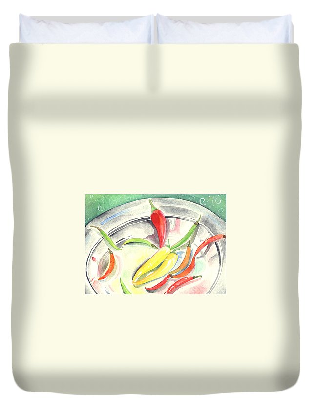 Hot Peppers Duvet Cover featuring the painting Pepper Play by Helena Tiainen
