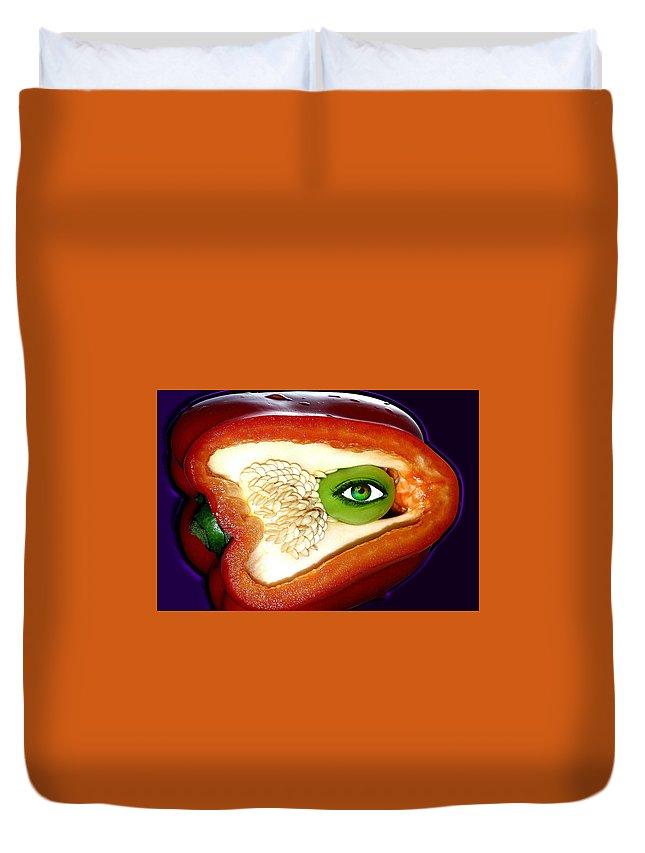 Pepper Duvet Cover featuring the photograph Pepper Watcher by Jose Vaz