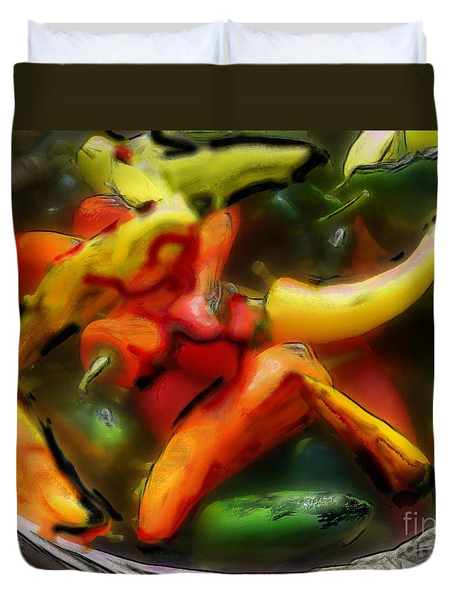 Peppers Duvet Cover featuring the photograph Peppers by Dee Flouton