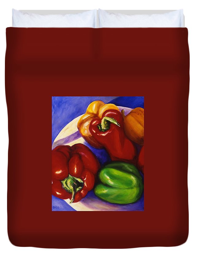 Still Life Peppers Duvet Cover featuring the painting Peppers in the Round by Shannon Grissom