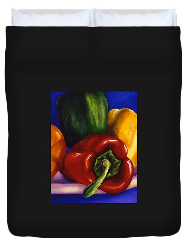 Still Life Duvet Cover featuring the painting Peppers On Peppers by Shannon Grissom