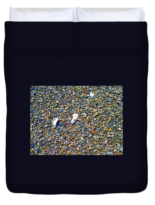 Beach Duvet Cover featuring the photograph Pepples On The Beach by Valerie Josi