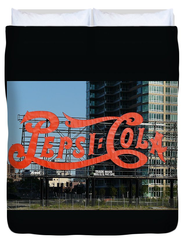 New York Duvet Cover featuring the photograph Pepsi-cola by Valerie Ornstein