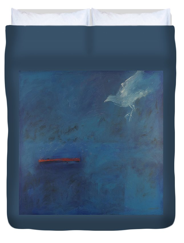 Bird Duvet Cover featuring the painting Perch by Tim Nyberg