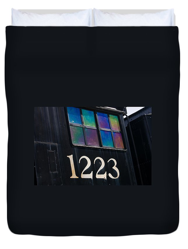 3scape Duvet Cover featuring the photograph Pere Marquette Locomotive 1223 by Adam Romanowicz