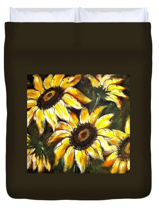Sunflowers Greeting Cards Duvet Cover featuring the painting Perfect Beauty Sunflower by Natalie Holland
