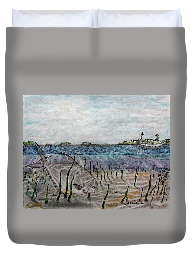Fishing Duvet Cover featuring the drawing Perfect Cast by Jason Blackwell