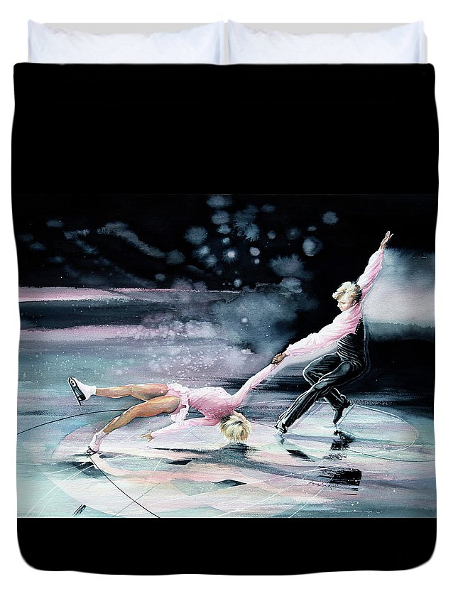 Sports Art Duvet Cover featuring the painting Perfect Harmony by Hanne Lore Koehler