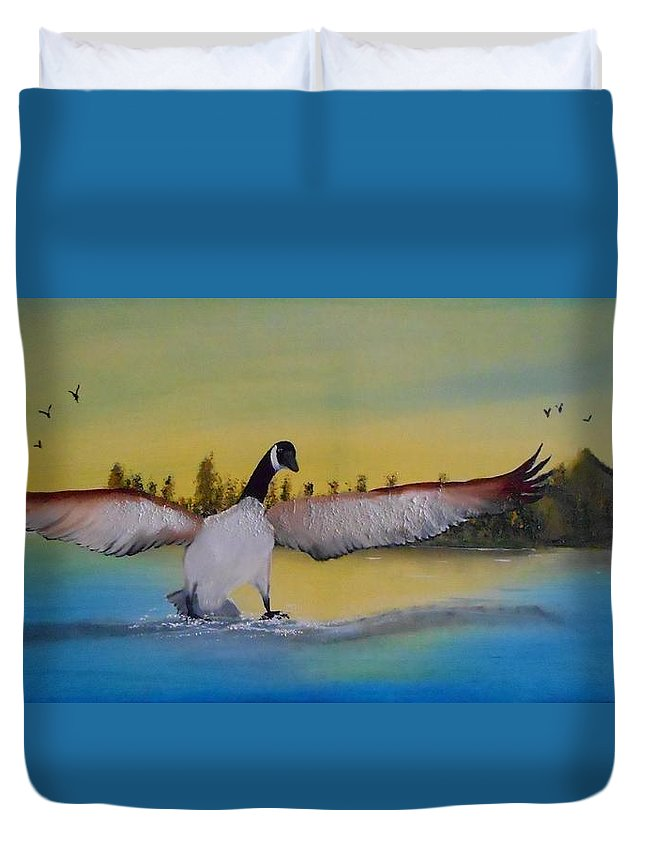 Oil Painting Duvet Cover featuring the painting Perfect Landing by Valenteana J Chilsted