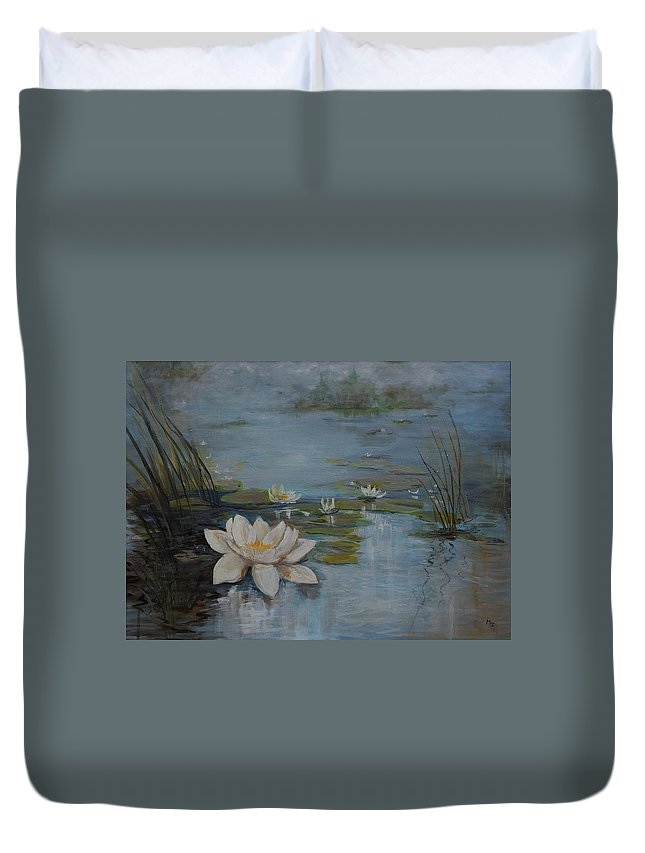 Water Lily Duvet Cover featuring the painting Perfect Lotus - Lmj by Ruth Kamenev