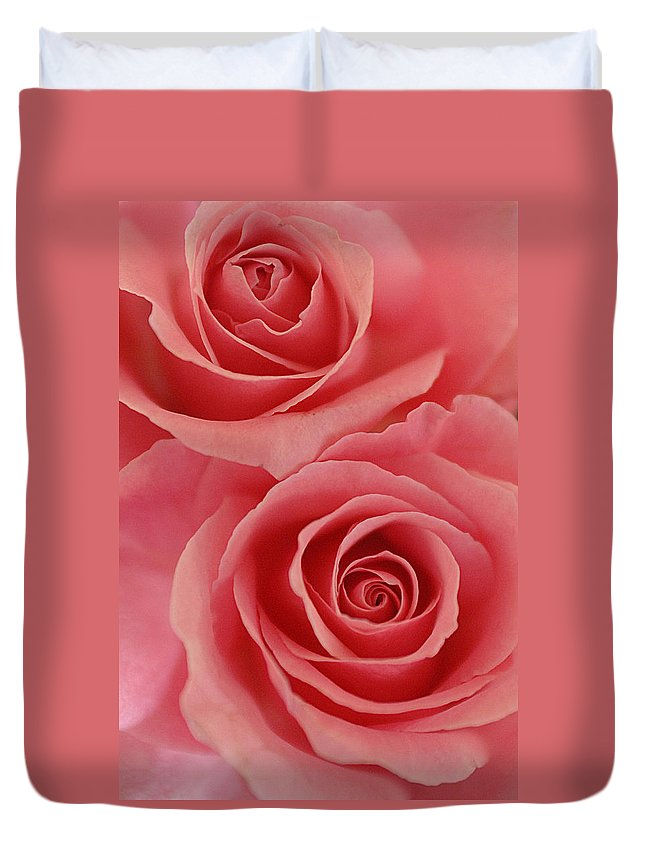 Rose Duvet Cover featuring the photograph Perfect Pink Roses by Jill Reger