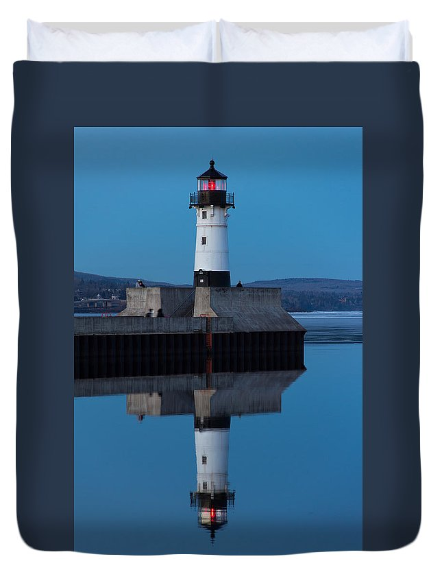 Lighthouse Duvet Cover featuring the photograph Perfect Reflection by Alex Ganeev