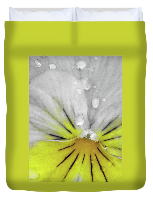 Pansy Duvet Cover featuring the photograph Perfectly Pansy 16 - Bw - Yellow by Pamela Critchlow