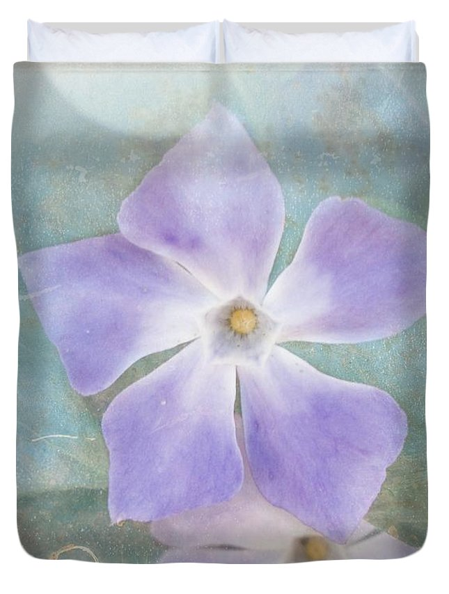 Periwinkle Duvet Cover featuring the photograph Periwinkle Stars by Cindy Garber Iverson