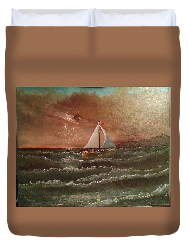 Oil Duvet Cover featuring the painting Perseverance by Michael Lee