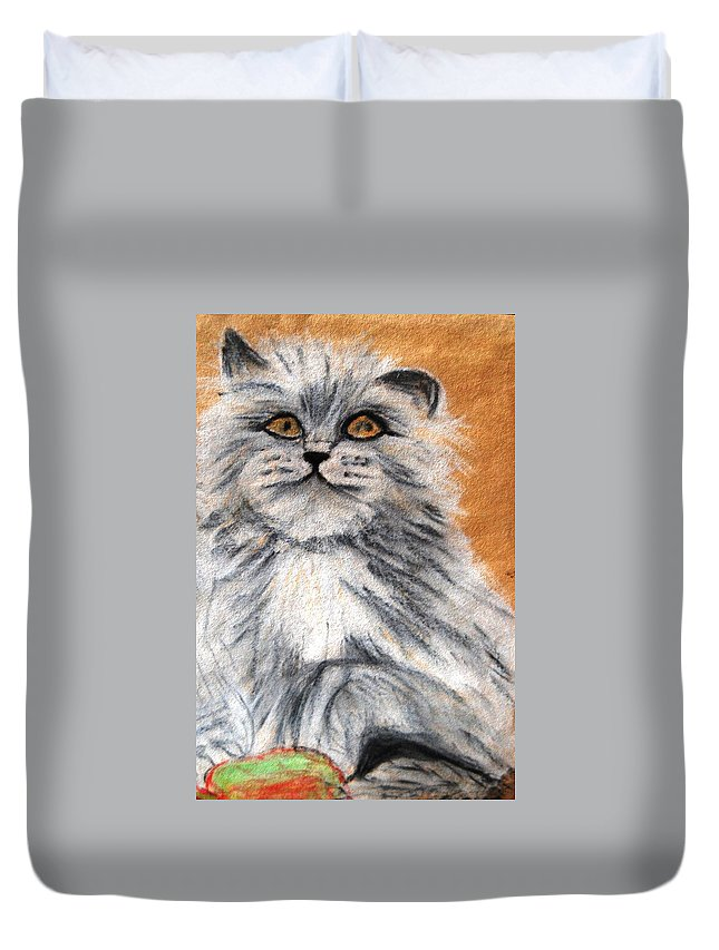 White And Grey Persian Cat Duvet Cover featuring the mixed media Persian Cat by Angela Murray
