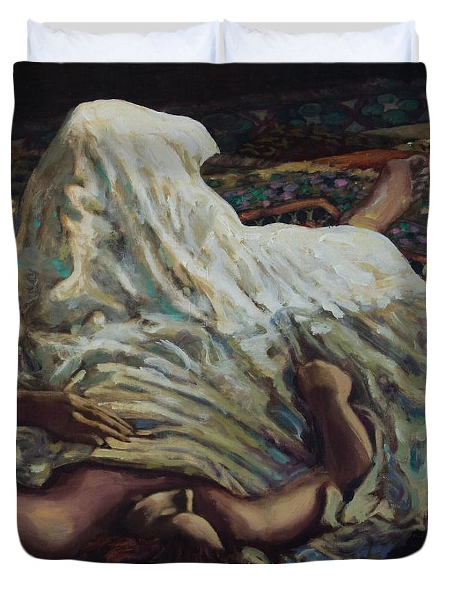 Figurative Duvet Cover featuring the painting Persian Rugs by Rick Nederlof