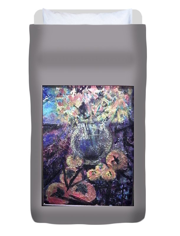 Still Life Duvet Cover featuring the mixed media Persimmons by Sue Williams