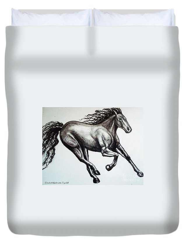 Horse Duvet Cover featuring the drawing Persistance by Elizabeth Robinette Tyndall