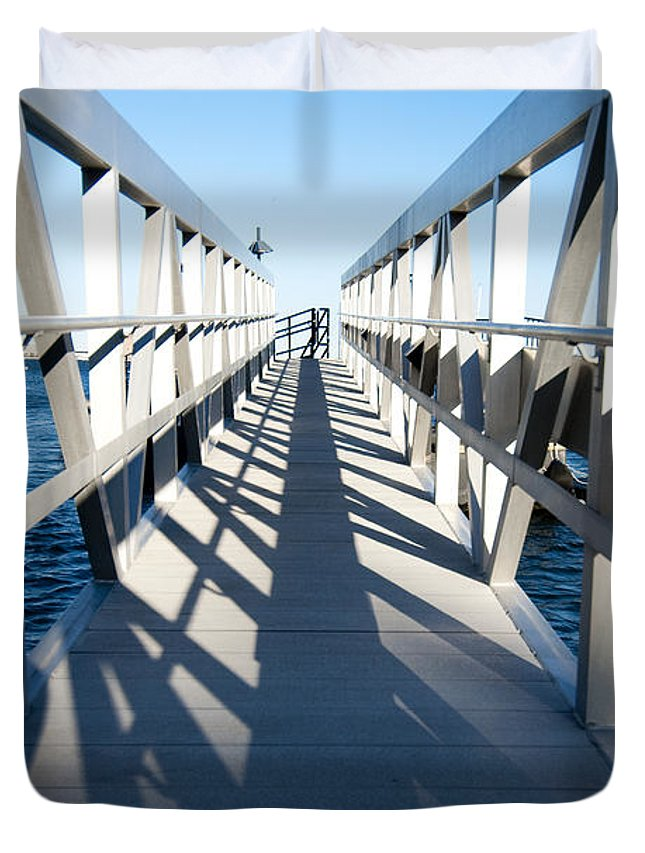 Dock Duvet Cover featuring the photograph Perspective Iv by Greg Fortier