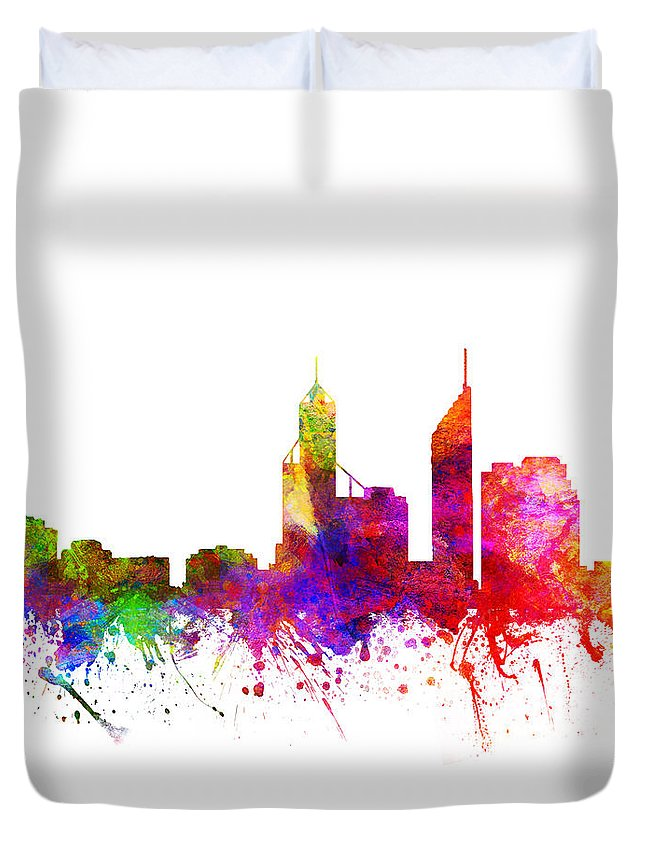 Perth Duvet Cover featuring the drawing Perth Australia Cityscape 02 by Aged Pixel