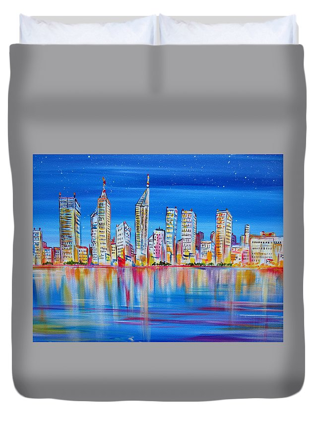 Perth Duvet Cover featuring the painting Perth Skyscrapers Skyline On The Swan River by Roberto Gagliardi