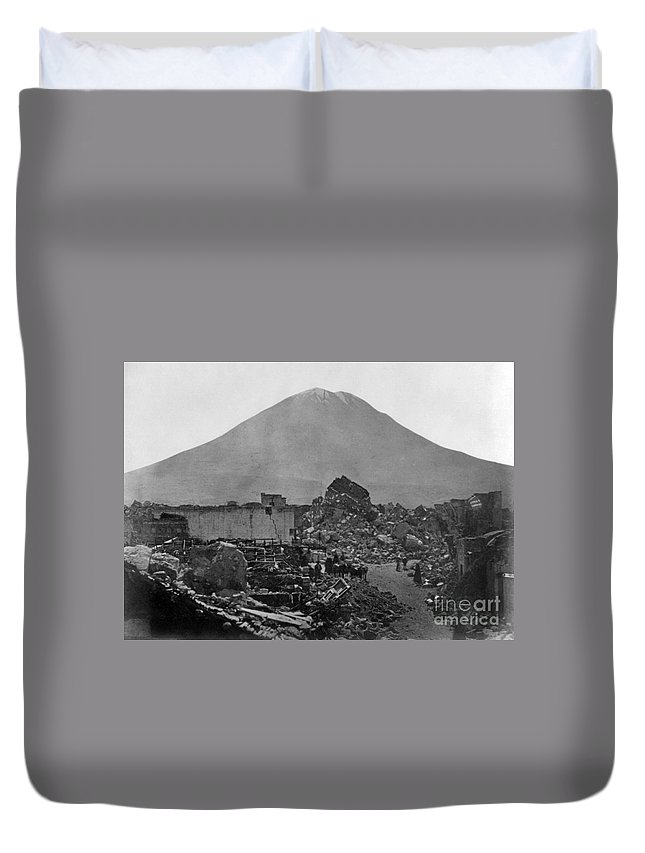 1868 Duvet Cover featuring the photograph Peru: Earthquake by Granger