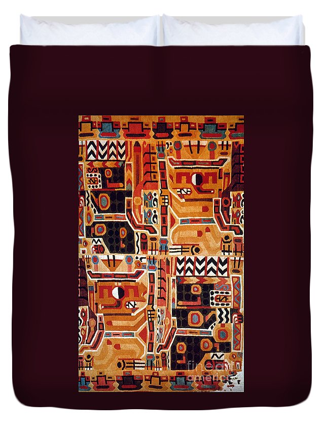 12th Century Duvet Cover featuring the photograph Peru: Tunic Fragment by Granger