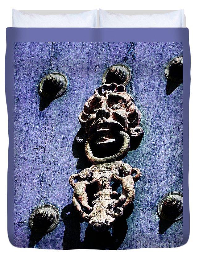 Inca Duvet Cover featuring the photograph Peruvian Door Decor 7 by Xueling Zou