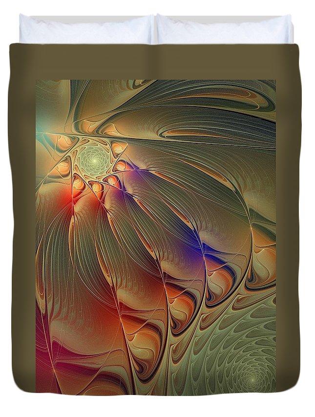 Digital Art Duvet Cover featuring the digital art Petalia by Amanda Moore