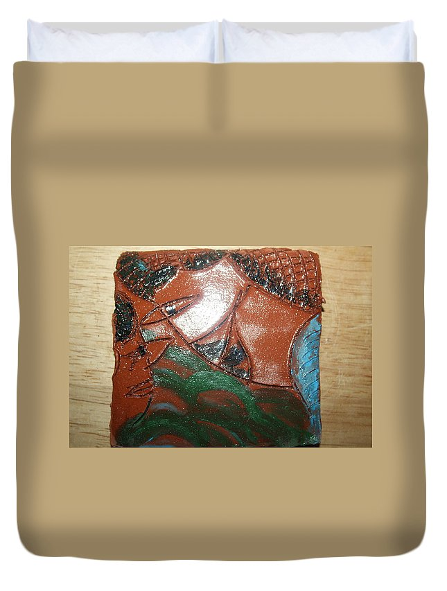 Jesus Duvet Cover featuring the ceramic art Petals - Tile by Gloria Ssali