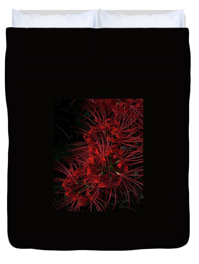 Flower Duvet Cover featuring the digital art Petals Of Fireworks by DigiArt Diaries by Vicky B Fuller