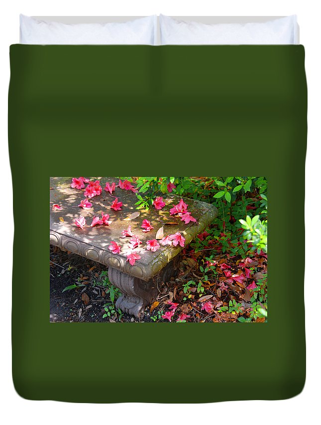 Photography Duvet Cover featuring the photograph Petals On A Bench by Susanne Van Hulst
