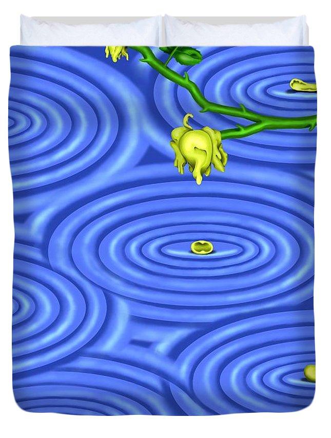 Surrealism Duvet Cover featuring the digital art Petals On Water IIi by Robert Morin