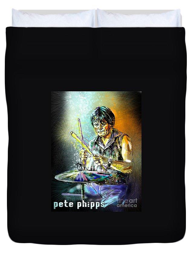 Pete Phipps Portrait Duvet Cover featuring the digital art Pete Phipps by Miki De Goodaboom