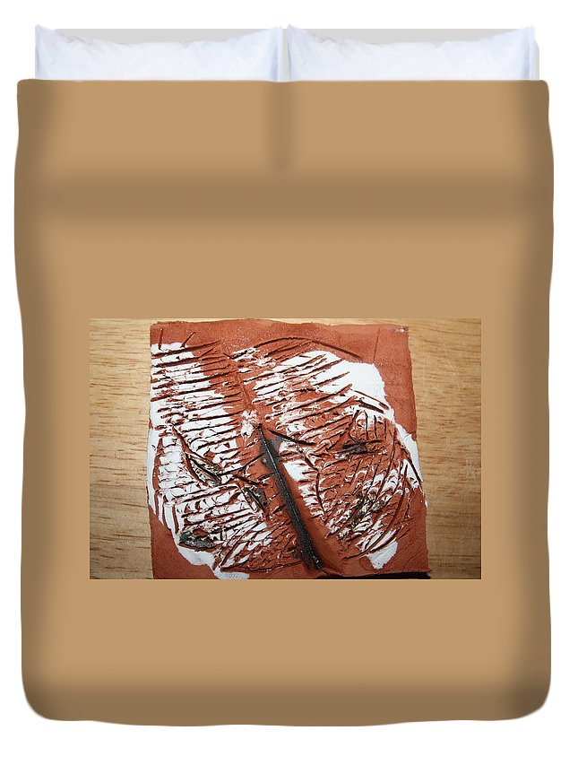 Jesus Duvet Cover featuring the ceramic art Peter N Katie - Tile by Gloria Ssali
