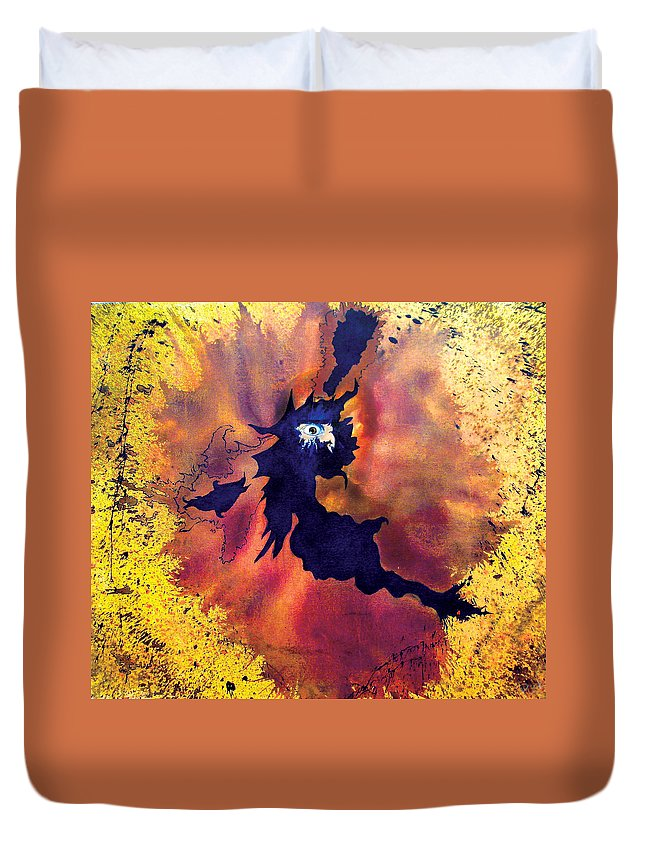 Eye Duvet Cover featuring the painting Pete's Speed Of Light by Albert Puskaric
