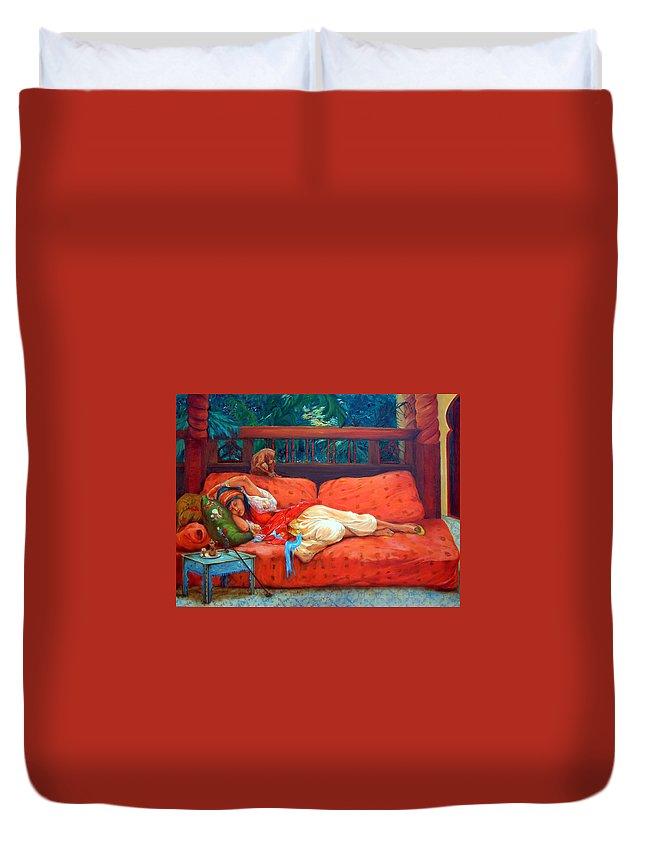 Figurative Art Duvet Cover featuring the painting Petite Somme After A. Bridgman by Enzie Shahmiri