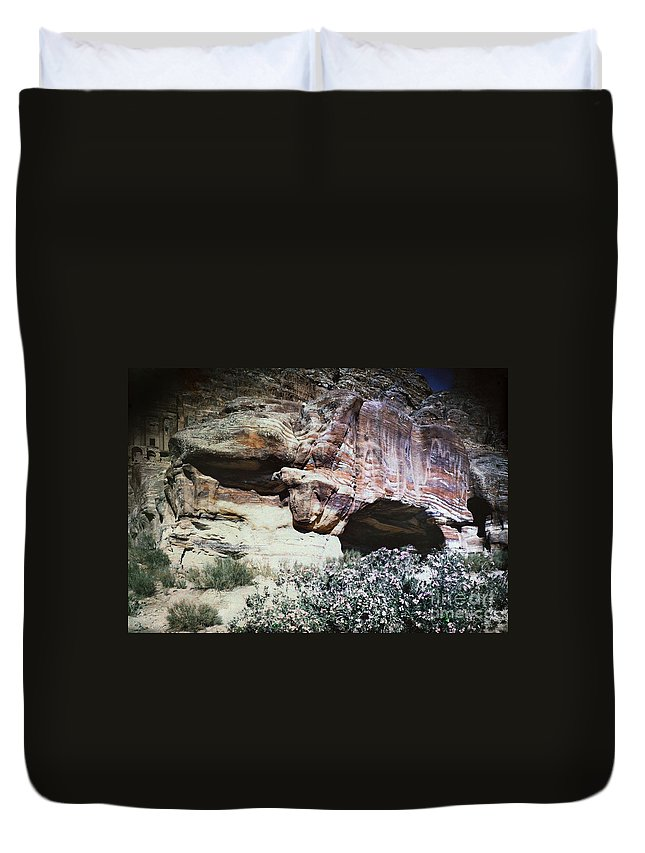 1939 Duvet Cover featuring the photograph Petra, Transjordan: Cave by Granger