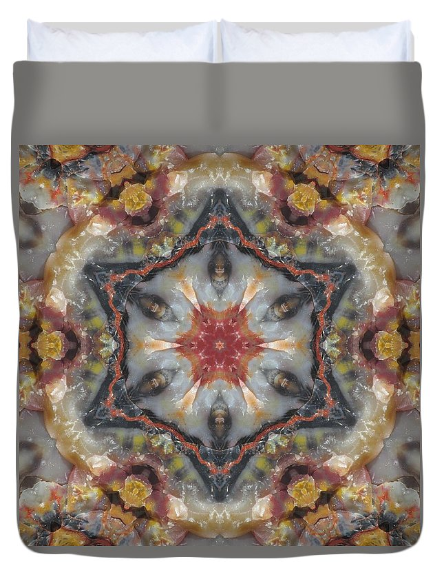Kaleidoscope Duvet Cover featuring the photograph Petrified Star by M E Cieplinski