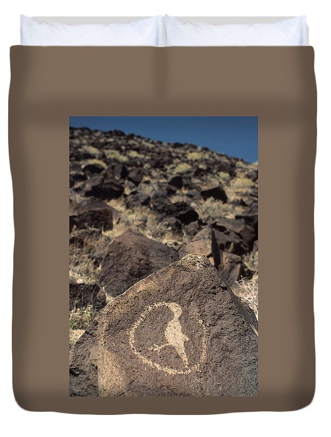Petroglyph Duvet Cover featuring the photograph Petroglyph by Jerry McElroy