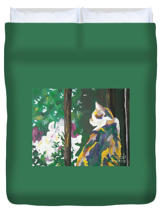 Petunia Duvet Cover featuring the painting Petunia by Caroline Davis