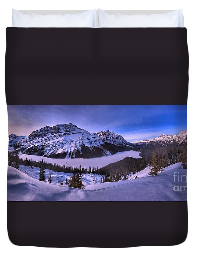 Peyto Lake Duvet Cover featuring the photograph Peyto Lake Lookout Panorama by Adam Jewell