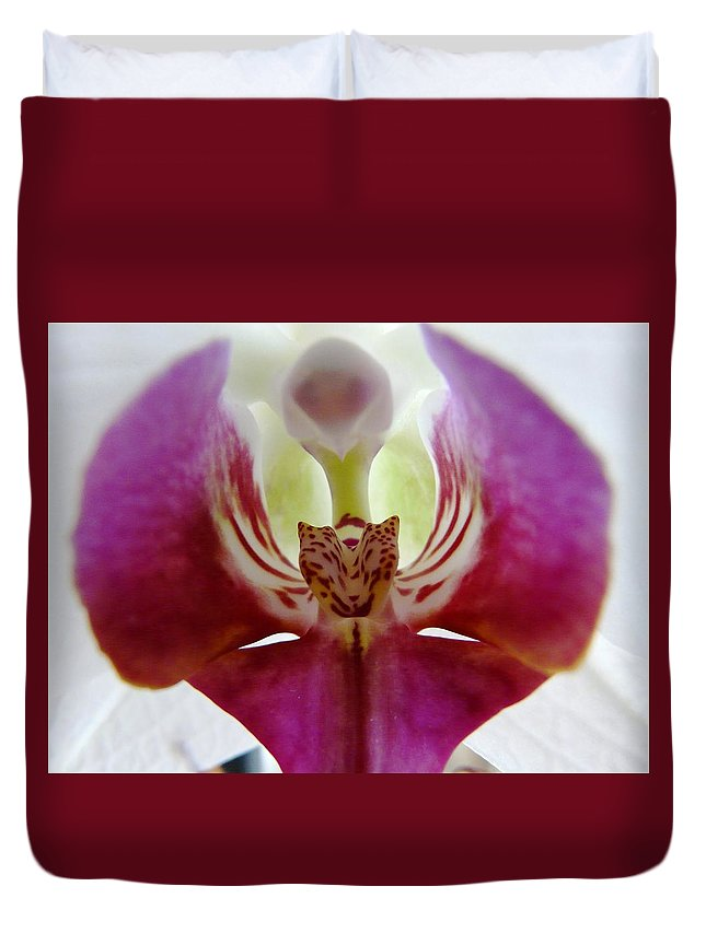 Flower Duvet Cover featuring the photograph Phalaenopsis Orchid Detail by Valerie Ornstein